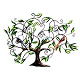 Home Decorative Tree Of Life Iron Wall Mounted Showpiece With Three Birds 33 X 48 Inch Mother's Day Gift