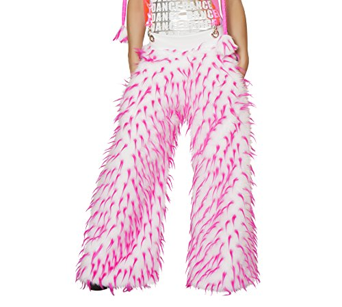 J. Valentine Women's Spike Faux Fur Pant with Pockets and Suspenders Fully Lined, Pink/White, 30/32