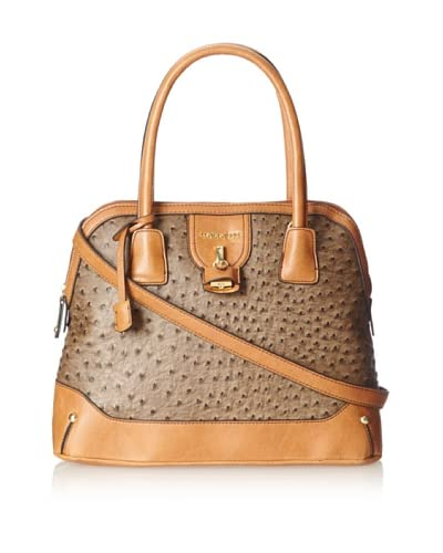 London Fog Women's Lark Satchel  [Mink Ostrich]