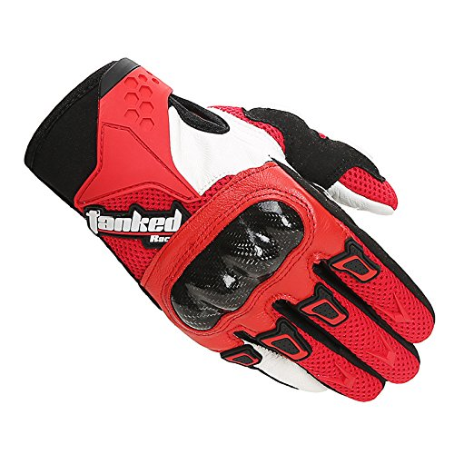 Carbon fiber leather motorcycle gloves , red , l