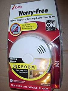 Kidde 10-Year Bedroom Sealed Lithium Battery Operated Smoke Alarm with Voice Alert