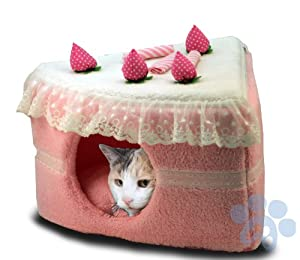 "16"" Pet-e-cake Cat Bed Condo 'Strawberry' with Removeable Pad"
