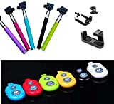 Crazyprofit New All in One Package Extendable Telescopic handheld Self Portrait Monopod High Quality Max Height 115cm for Photo and Camcorder Use with Shoulder Case + Universal Smartphones Holder/Clip for Digital Camera iPhone 4 4S 5 5S 5C 6 6G 6S Samsun