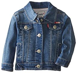 Levi\'s Baby-Girls Newborn Denim Jacket, Iced Blue, 3-6 Months