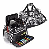 LuckyFine Travel Luggage Salon Hairdressing Hair Tools Zebra Carry Case Duffle Diaper Bag