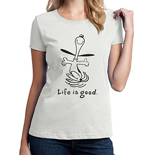 good-life-is-snoopy-e-charlie-brown-maglietta-da-donna-bianco-small