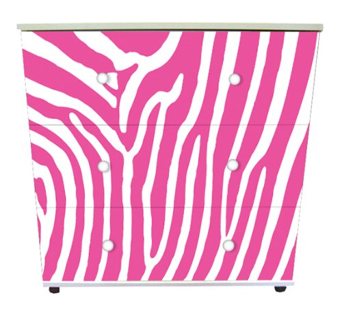Pink Zebra Design Childrens/Kids White 3x Drawer Chest Bedroom Furniture
