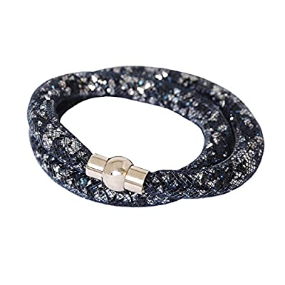 Bedazzled Magnetic Jet and Black Diamond Crystal Double Wrap Stardust Bracelet - in Gift Box