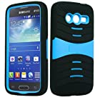 For Samsung Galaxy Avant / G386T (T-Mobile) - A2Z4CELL Rugged Guardian Hybrid Case Protective Cover w/Kickstand (Light Blue (Shell) - Black (Skin))