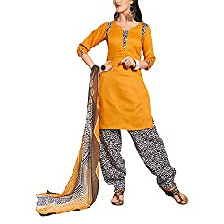 Destiny Enterprise Cotton Unstitched Orange Black and White Color Patiyala Suit Dress Material for Women
