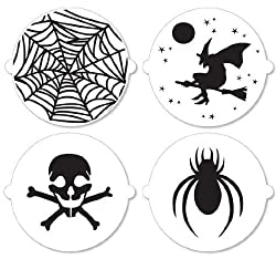 Martha Stewart Halloween Cake Stencils, Set of 4: Skull & Crossbones, Spider Web, Witch & Spider