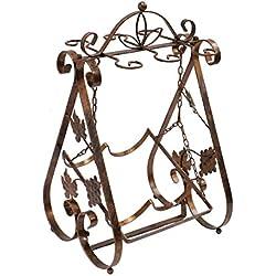 JustNile Beautiful Vintage Wrought Iron Wine Bottle & Glass Holder Rack, 6-glasses-Bronze