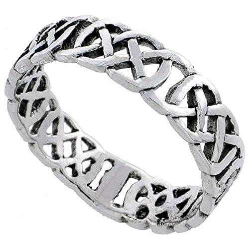 Sterling Silver Celtic Knot Wedding Band Thumb Ring 3/16 Inch Wide, Size 10