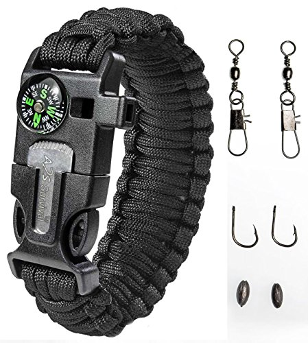Paracord Bracelet Emergency Kit 17 pcs Survival Gear by A2S - Ultimate Survival Series includes 12 pcs Fishing Gear &