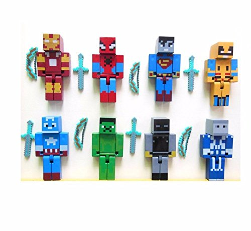 NEW 8 Minecraft Style Marvel/DC Heroes Custom Toy Figures With 16 Weapons