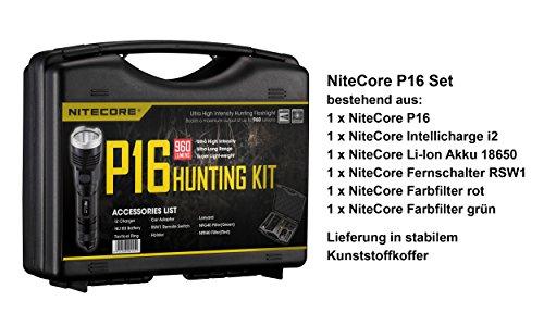 Nitecore P16caccia-Set con Caricatore, Batteria, 2filtro cromatico, telecomando