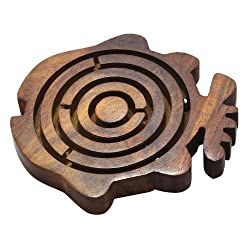Wooden Labyrinth Maze Fish Shape Board Ball in Maze Brain Teaser Puzzle Game, Set of 12
