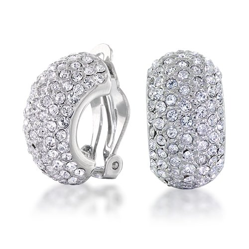 Bling Jewelry CZ 7 Row Half Hoop Huggie Clip On Earrings