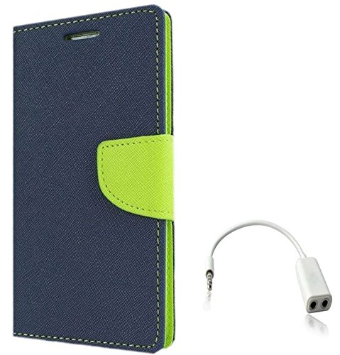 Tidel Premium Table Talk Fancy Diary Wallet Flip Cover Case For Samsung Galaxy J2 (Blue) With Audio Spliter