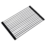 """ESH Roll-up Folding Dish Drying Rack Stainless Steel Over Sink Tray Black(15.8""""x9.4"""")"""