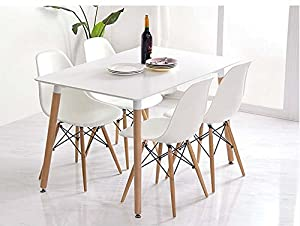 Vecelo Eames Style Side Chair Natural Wood Legs Eiffel Dining Room Chair/lounge Chair, Set of 4 by VECELO