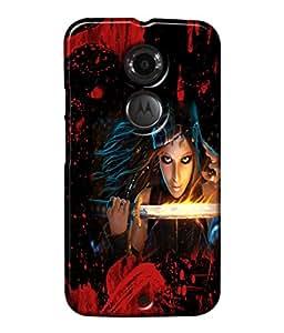 Fuson Blood Sword Girl Back Case Cover for MOTOROLA MOTO X2 - D3824