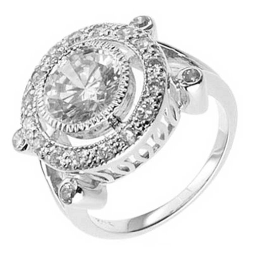 Art Deco Round Cut Cubic Zirconia Sterling Silver Engagement Ring SPJ