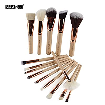 A-store Silking 15Pcs Makeup Brushes Set, Soft Synthetic Foundation Eyeshadow Blusher Beauty Cosmetic Tools( Gold)