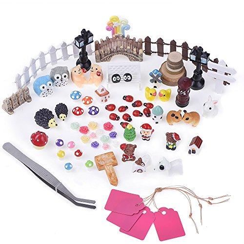 Antner 72pcs Miniature Ornament Fairy Garden Dollhouse Decor DIY Kit with Storage Box