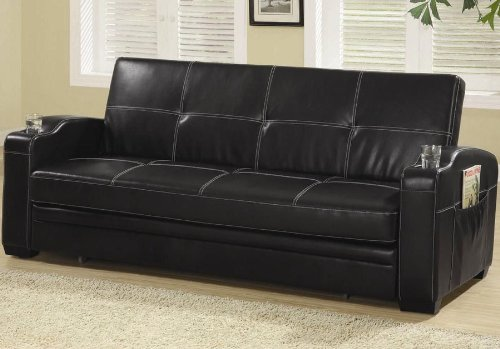 Coaster Furniture Sofa Bed With Cup Holders In Black Co300132 front-904249