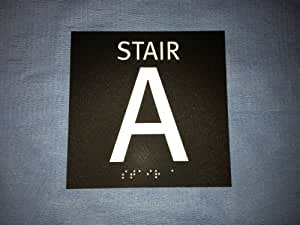 ADA Stair A Sign, 6X6 Inches, Black