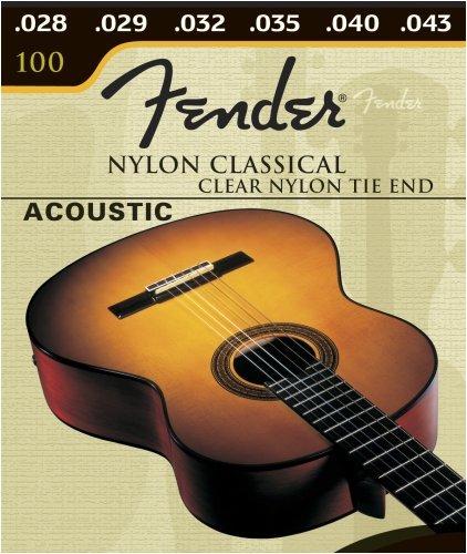 Fender 100 Clear, Nylon Classical Tie Guitar Strings