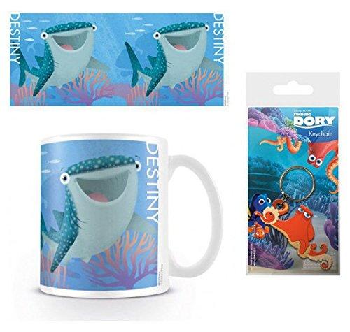 Set: Alla Ricerca Di Dory, Destiny Tazza Da Caffè Mug (9x8 cm) e 1 Alla Ricerca Di Dory, Portachiave (6x4 cm)