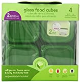 Green Sprouts 4 Pack Glass Baby Food Storage Cubes, Green