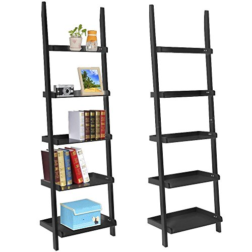 Topeakmart Living Room Black Wooden 70 Inch 5 Tier Leaning Ladder Shelf Bookcase Bookshelf Stylish Display Storage Shelves Unit (Build In Bookshelf compare prices)