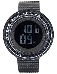 King Master 65.00ct Lab Made Diamond Watch Fully Iced Out Mens Digital Watch Black Stainless Steel Metal Band