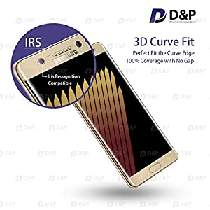 D&P Samsung Galaxy Note 7 3D Curve Fit Tempered Glass Screen Protector,Perfect Fit / Anti-Fingerprint / High-Transparency / Can't Fit All the Cases / Anti-Bubbles / Anti-Scratch[1+1 pack][Gold] from D&P