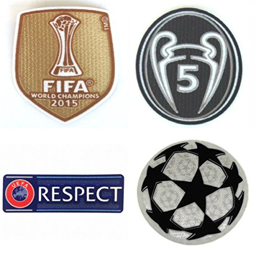 FC Barcelona Patch Set 2016-2017 Soccer Jersey Badges Football Shirt Patches FIFA 2015 Club World Champions, Uefa Champions League Trophy 5 Honor (Fifa World Champions Patch compare prices)