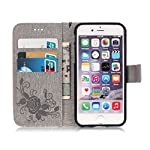 Mo-Beauty® iPhone 6/6S Floral PU Leather Wallet Case [Free Tempered Glass Screen Protector] With Hand Wrist Strap,Flower Butterfly PU Leather Flip Wallet Case Cover For Apple iPhone 6 6S - luggage