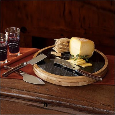 NapaStyle 4-Piece Cheese Knife Set with Cutting Board Top and Marble Inset (50625)