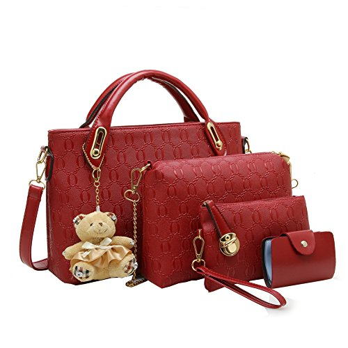 ftsucq-womens-embossing-shoulder-handbag-tote-bags-hobo-red-clutch-four-pieces-set