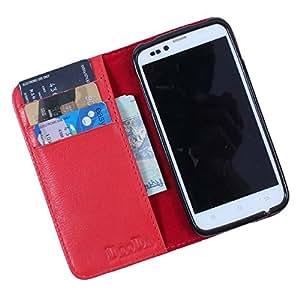 Dooda Genuine Leather Wallet Flip Case For Karbonn S5 Titanium (RED)