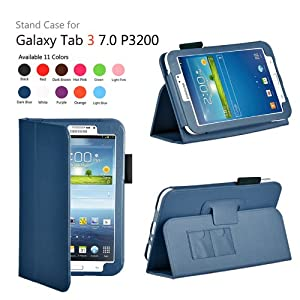 onWay(TM) Slim Fit Leather Case Cover for Samsung Galaxy Tab 3 7.0 inch Tablet (SM-T210/GT-P3200/P3210) + Gift: stylus touch pen x1 (DARK BLUE Color) by onWay
