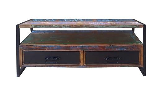 Dreams4Home Lowboard Massivholz 'Mauritius' TV Unterschrank Holz Antik Shabby
