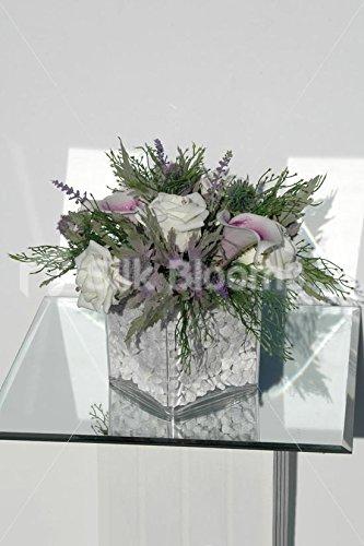Oasis Vase cubique style écossais affichage/Picasso Motif fleurs de lys Violet
