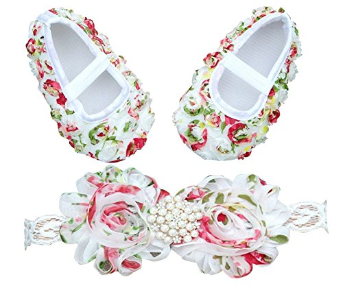 PinkXenia Baby Girl Vintage Diamond Pearl Chiffon Flowery Baby Booties & Headband Rosette Shoes set