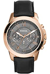 Fossil Men's FS5085 Grant Chronograph Stainless Steel Watch With Black Leather Band