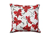 Balanced Design Hand Printed Cotton/Linen Butterfly Pillow, 22 by 22-Inch, Red