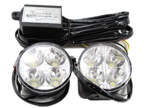 Jlc Xenon White 70Mm Hella Style Round Shape 6W High Power Led Daytime Running Lights (Drl Kit)