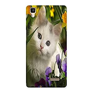 Ajay Enterprises Special Cat With Flowers Back Case Cover for Oppo R7